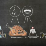 Illustration of a holiday meal with drawings representing taste and smell. (iStock Image)