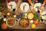 Directly above view of different dishes for celebration of Thanksgiving Day. (iStock Photo)