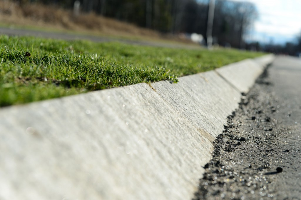 Curbs along Discovery Drive are angled so that salamanders and other amphibians can climb up if they do get onto the road. (Peter Morenus/UConn Photo)