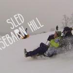 Sledding down Horsebarn Hill. (Elizabeth Caron/UConn Photo)