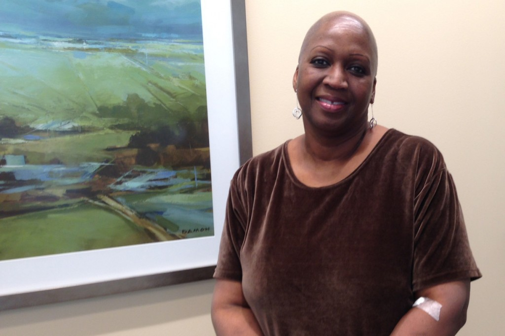 Deep Breath patient Andree Dennis-Gervais finished her cancer radiation treatment at UConn Health recently. (Lauren Woods/UConn Health Photo)