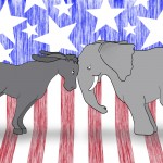 Cartoon depicting the two main U.S. political parties going head to head. (iStock Image)
