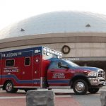 The new UConn Fire Department ambulance outside Gampel Pavilion. (Rob Babcock/UConn Photo)