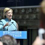 Hillary Clinton attends a rally on July 6 in Atlantic City, N.J., where she speaks to supporters as she stands directly below the sign of the closed Trump Plaza. (iStock Photo)