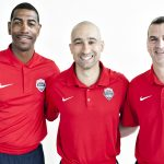 UConn's Kevin Ollie, left, served as assistant coach for the USA Basketball under-18 team in Valdivia, Chile, July 19-23, together with head coach Shaka Smart of the University of Texas, center, and assistant coach Mark Turgeon of the University of Maryland. (USA Basketball Photo)