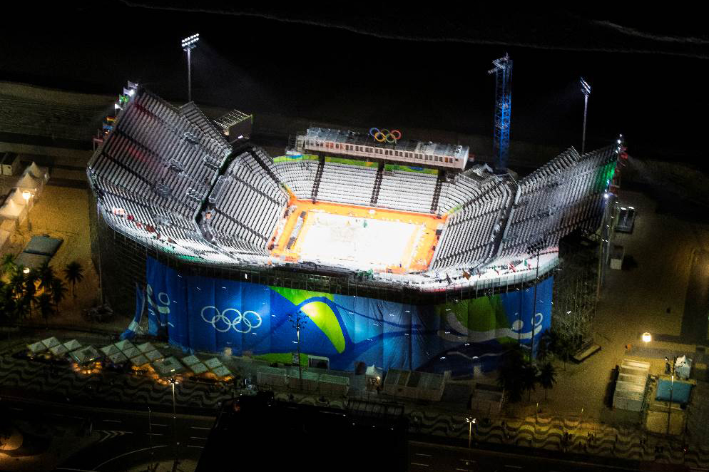 The Olympic beach volleyball arena in Copacabana, Brazil.