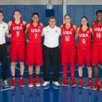The five former Huskies on the USA Basketball Women's National Team, along with head coach Geno Auriemma and from left, Jen Rizzotti, Kevin DeMille, and Jamelle Elliott. (Photo: Nathaniel S. Butler/NBAE/Getty Images)e 2016 USA Basketball Women's National Team, at the Madison Square Garden training facility in New York on July 30, 2016. (Photo: Nathaniel S. Butler/NBAE/Getty Images)