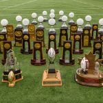A still life photo of athletic trophies at the Mark R. Shenkman Training Center on Aug. 23, 2016. (Peter Morenus/UConn Photo)