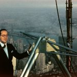 Joe Stern '44 (ENG) atop the Empire State Building, standing next to the transmitter he helped design. Joe credited UConn with providing him the tools to have a successful career in telecommunications. (Photo courtesy of Linda Jo Stern '77 (CAHNR))