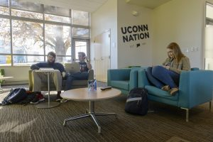 Students in the Student Center at the Avery Point campus on Nov. 18, 2016. (Peter Morenus/UConn Photo)