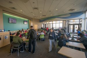 Students studying in the Student Center at the Avery Point campus on Nov. 18, 2016. (Sean Flynn/UConn Photo)