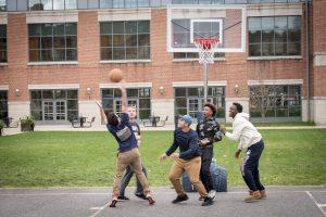 A friendly game of basketball on Dec. 1, 2016. (Sean Flynn/UConn Photo)