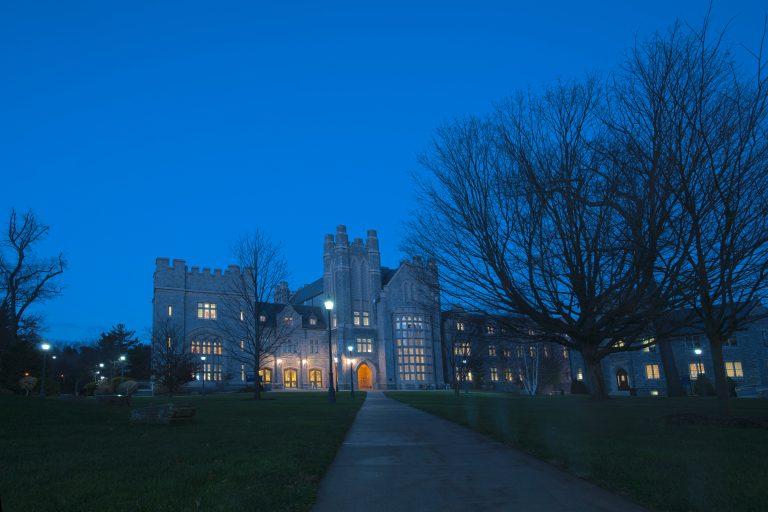 UConn Law School at night. (Sean Flynn/UConn Photo)