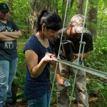 Maggie Yeung of Lyman Hall High School and UConn undergraduate Jaron Kolek, right, a natural resources and the environment major, are observed by Nate Kopler of Torrington High School while learning to track radio-collared animals using telemetry in the UConn Forest. The activity was part of the NRCA's Conservation Ambassador Program. (NRCA Staff/UConn Photo)