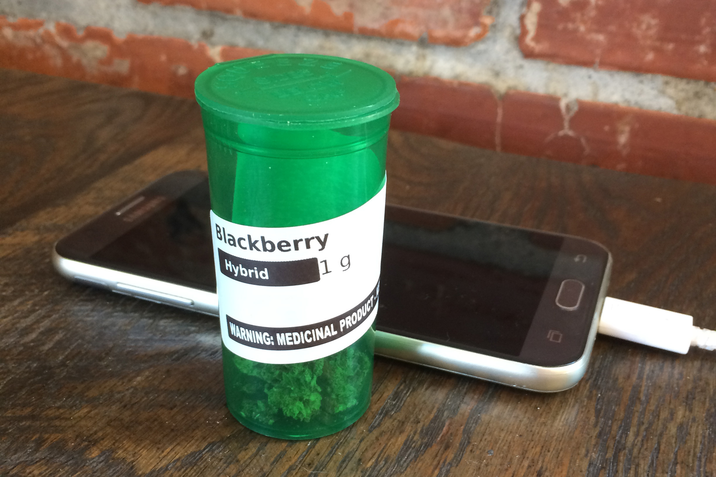 Medical marijuana prescription on a coffee house table in Los Angeles. (Kristen Cole)