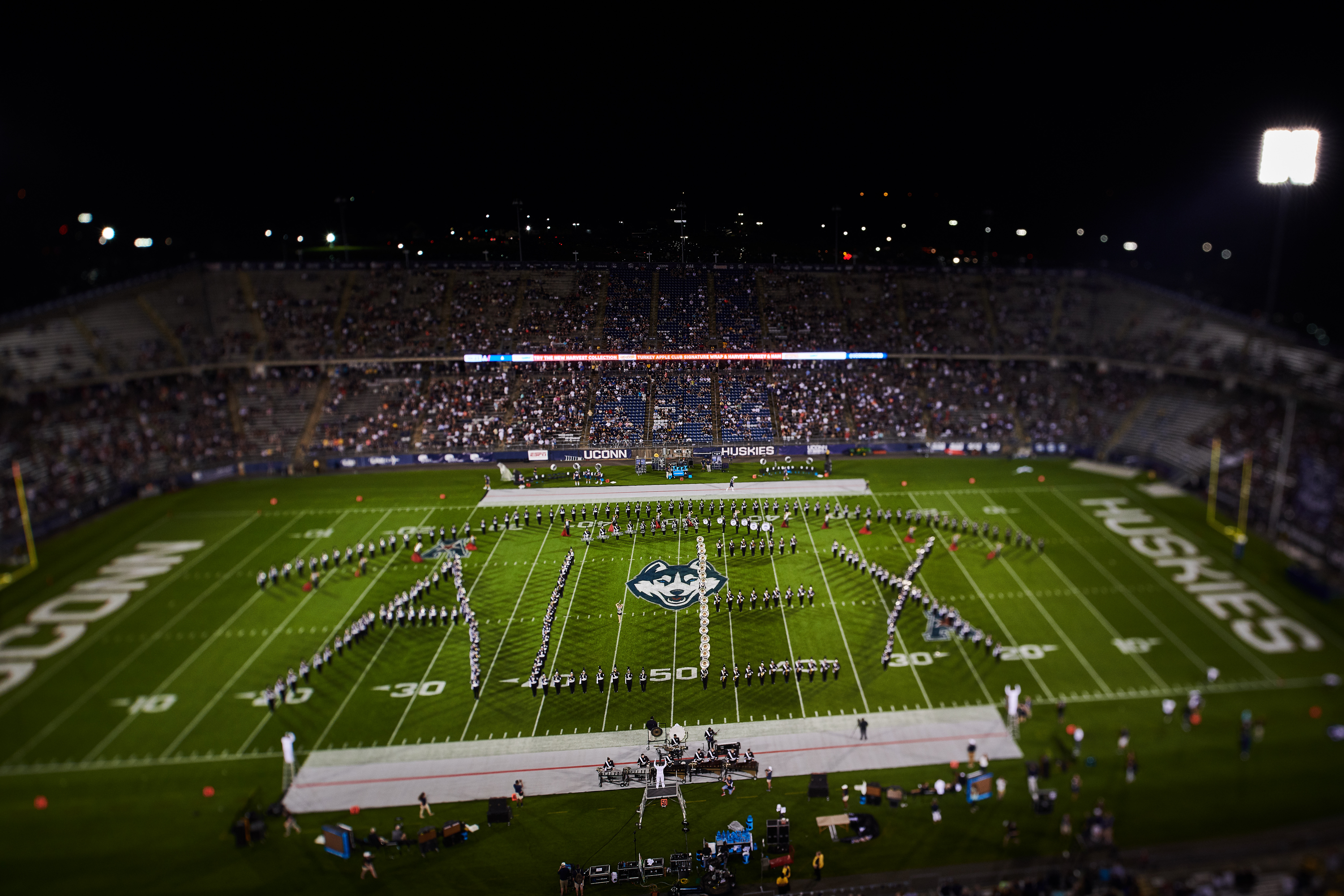 The UConn Marching Band paid tribute to Alex Schachter, a Husky fan who played in his school marching band, by spelling out his name and performing his favorite song at halftime. (Peter Morenus/UConn Photo)