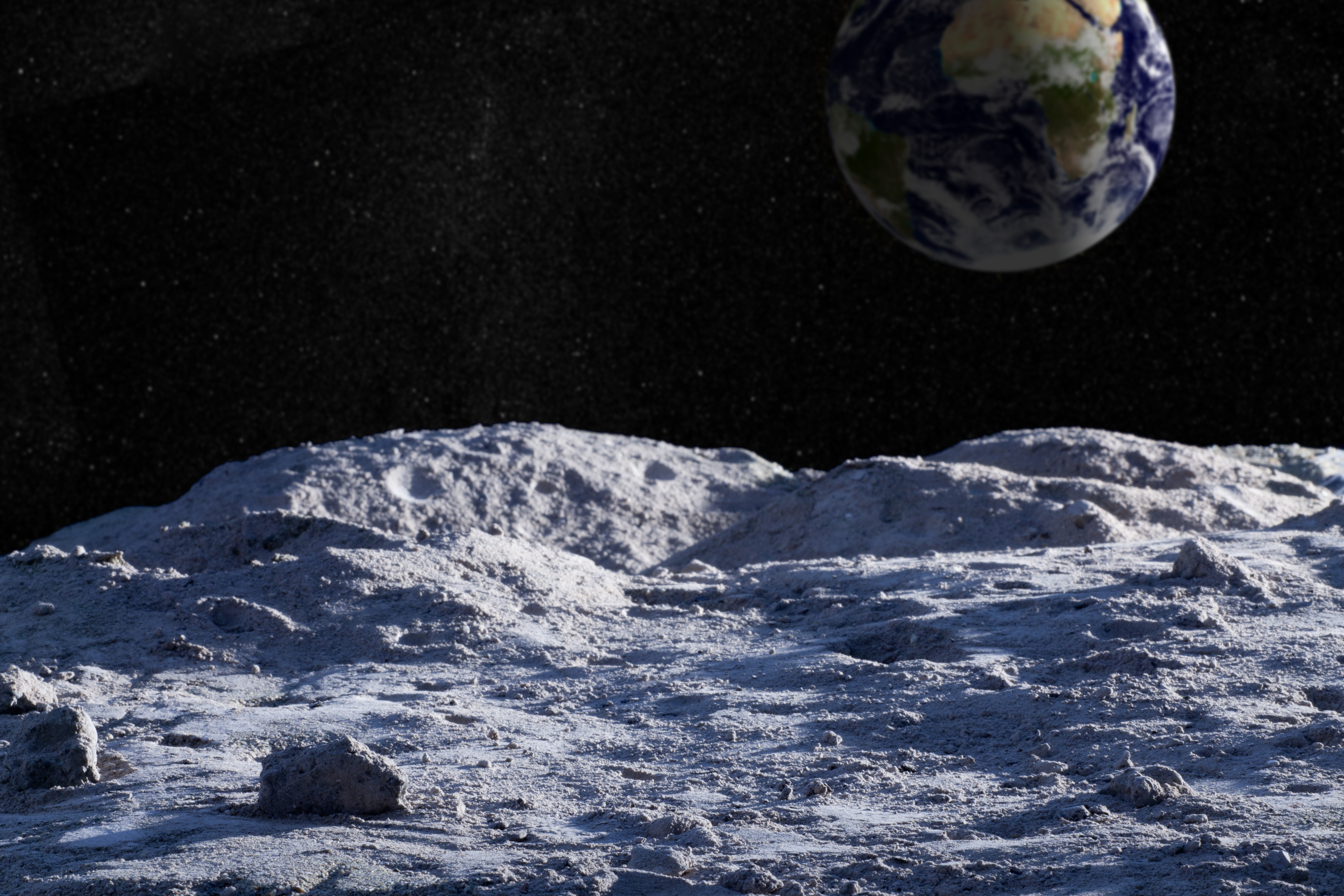 Moon surface with distant Earth and starfield. (Getty Images)