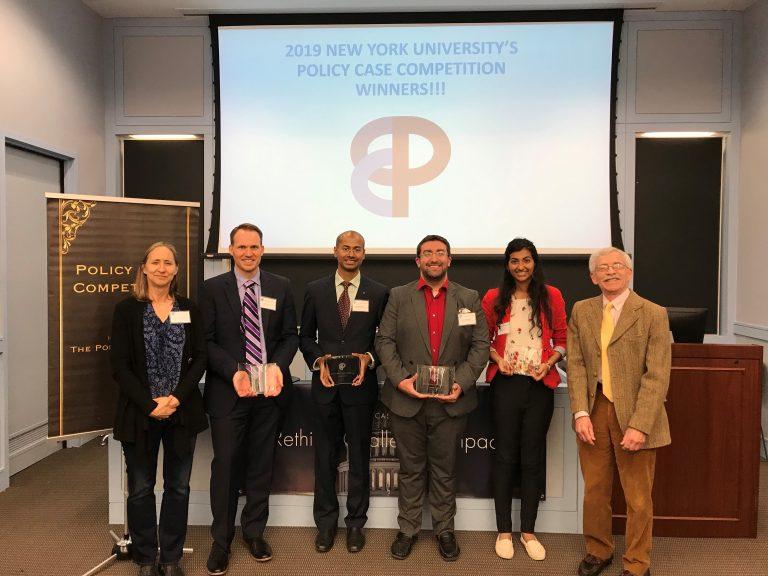 New York University Policy Case Competition Winners with Judges (from left to right): Professor Jacqueline Klopp, Joshua Schreier, Shankar Kumar, Tony Patelunas, Sneha Jayaraj, and Professor Lawrence White (photo: Joshua Schreier)