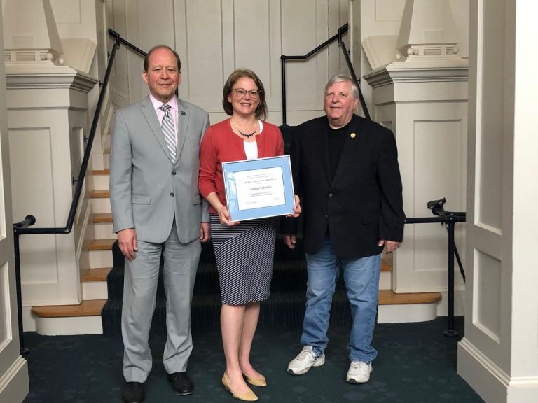 Kent Holsinger, Dean, The Graduate School at UConn; Sandra Chafouleas, Professor and 2019 recipient of the Edward C. Marth Mentorship Award; and Edward C. Marth, former Executive Director of the UConn AAUP chapter (Cinnamon Adams)