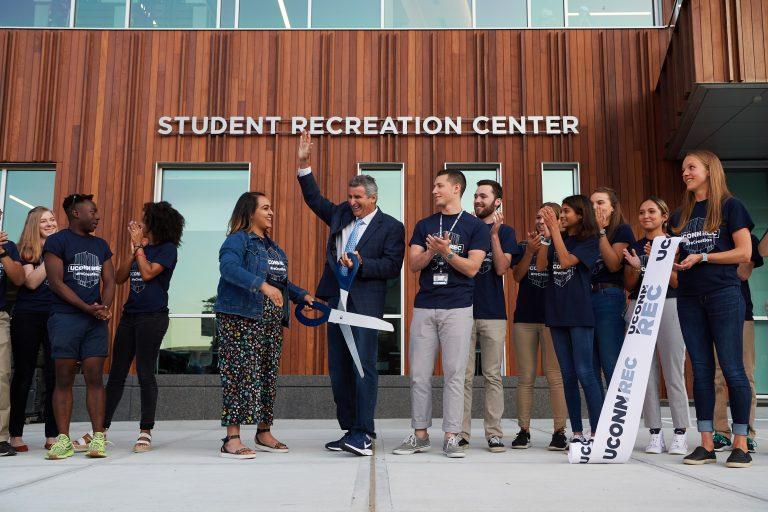 USG President Priyanka Thakkar '20 (BUS) and President Tom Katsouleas cut the ribbon to open the new Student Recreation Center. (Peter Morenus/UConn Photo)