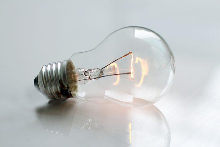 Closeup of a lightbulb