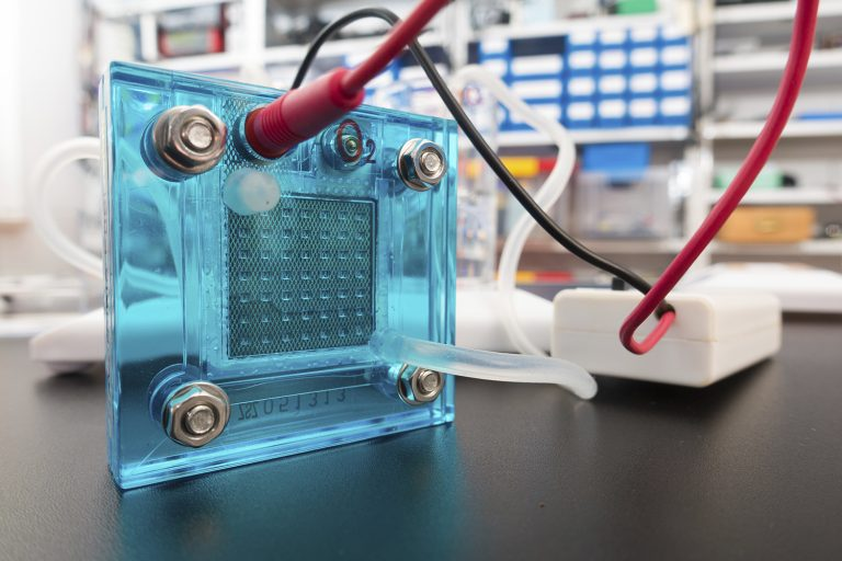 Hydrogen fuel cell, close up.