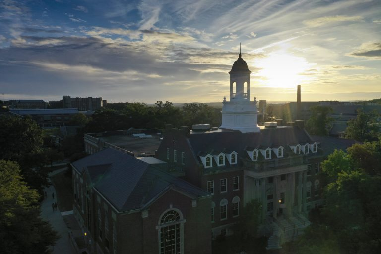 The Wilbur Cross Building at sunset