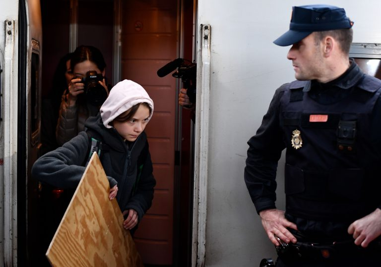 Young Swedish activist Greta Thunberg, one of the activists that gives hope to professor Mark Urban, arriving at a climate protest in Spain.