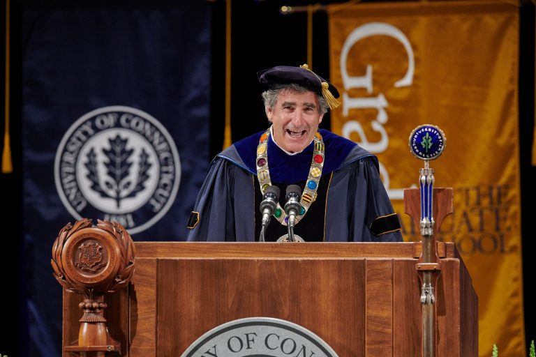 President Thomas Katsouleas speaks during the virtual Commencement ceremony broadcast from the Jorgensen Center for the Performing Arts on May 9, 2020.