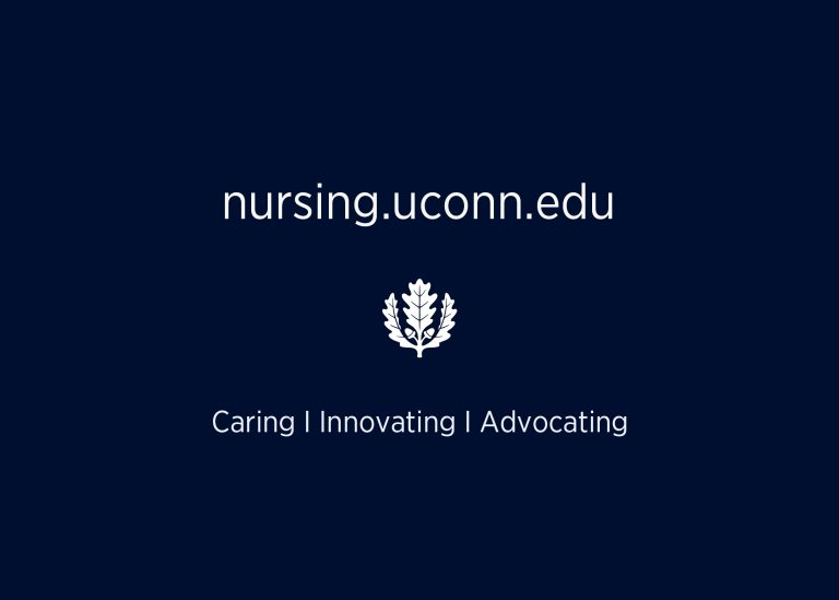 Navy blue graphic that reads, nursing.uconn.edu and