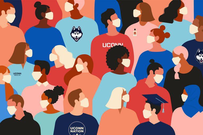 Animated UConn students wearing masks.