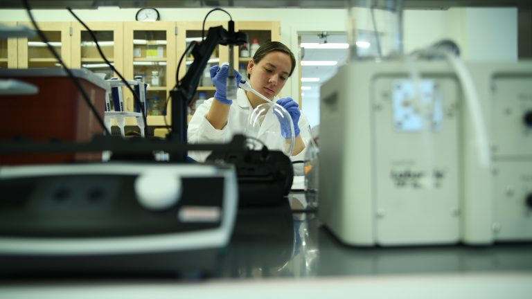Student Patricia Hare at work in the lab.