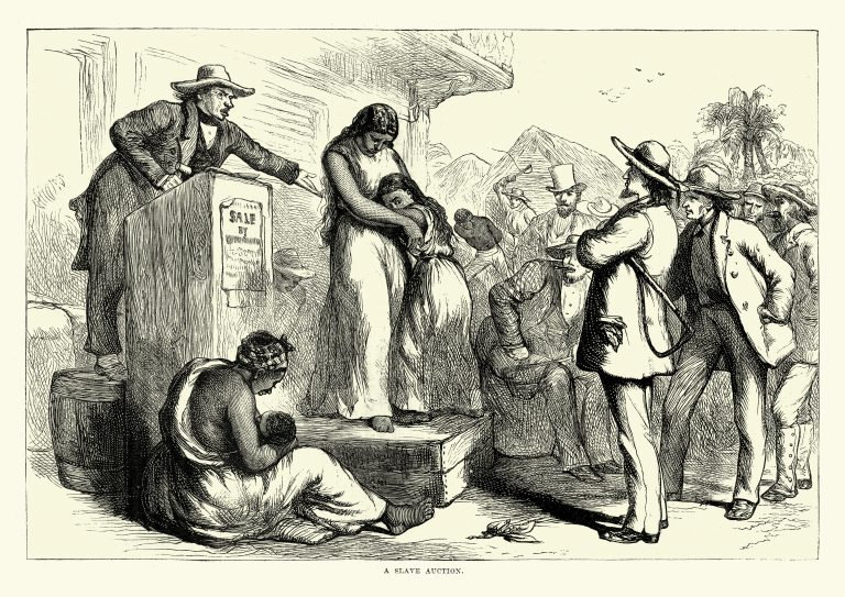 Vintage engraving of a Mother and daughter sold at Slave Auction, Southern USA, 19th Century