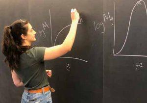 a woman at a chalkboard