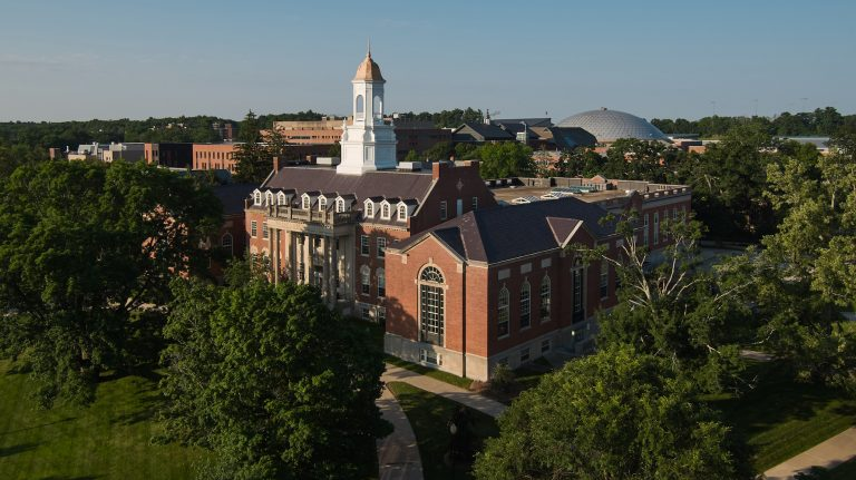 A view from above of the Wilbur Cross building on the Storrs campus.