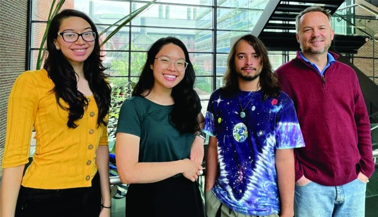 From left to right: graduate students Brenda Milla, Maggie Khuu, and Jaseph Soto Perez, with Professor Dan Mulkey (Photo courtesy of Andre Jang).