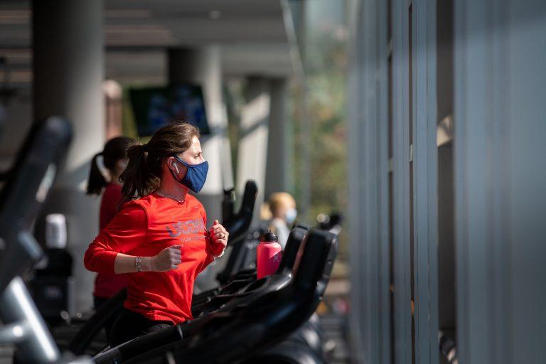 Student using treadmills at the Rec Center on September 21, 2020.