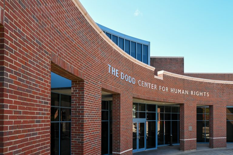 The exterior of the Dodd Center building.