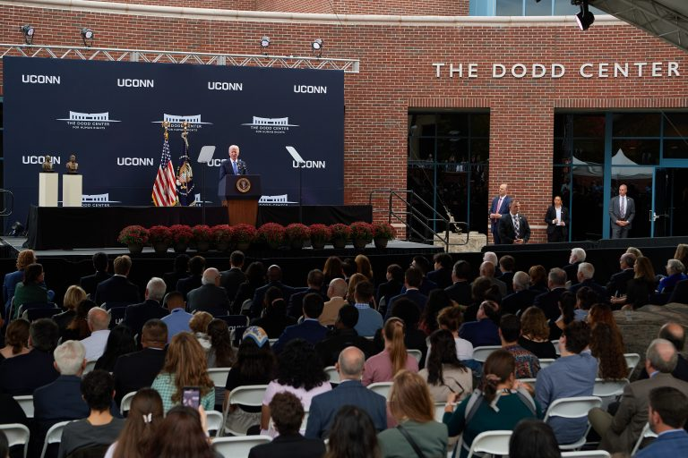President Joe Biden speaks during the dedication ceremony of The Dodd Center for Human Rights at the University of Connecticut main campus in Storrs on Oct. 15, 2021.