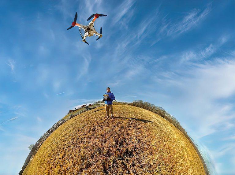 Milton Levin flying his drone on Horsebarn Hill.